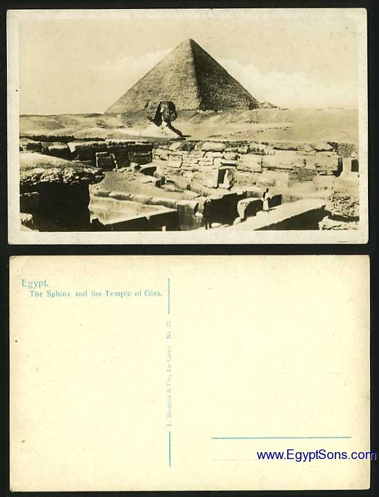 Egypt Old Real Photo Postcard Pyramid & SPHINX of GIZA