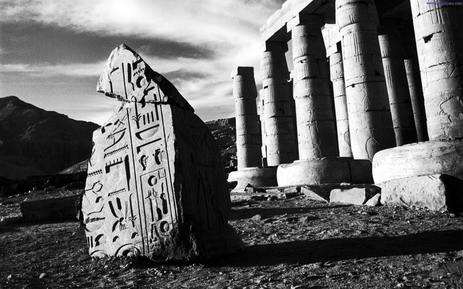 Hieroglyphics and columns of the Ramesseum