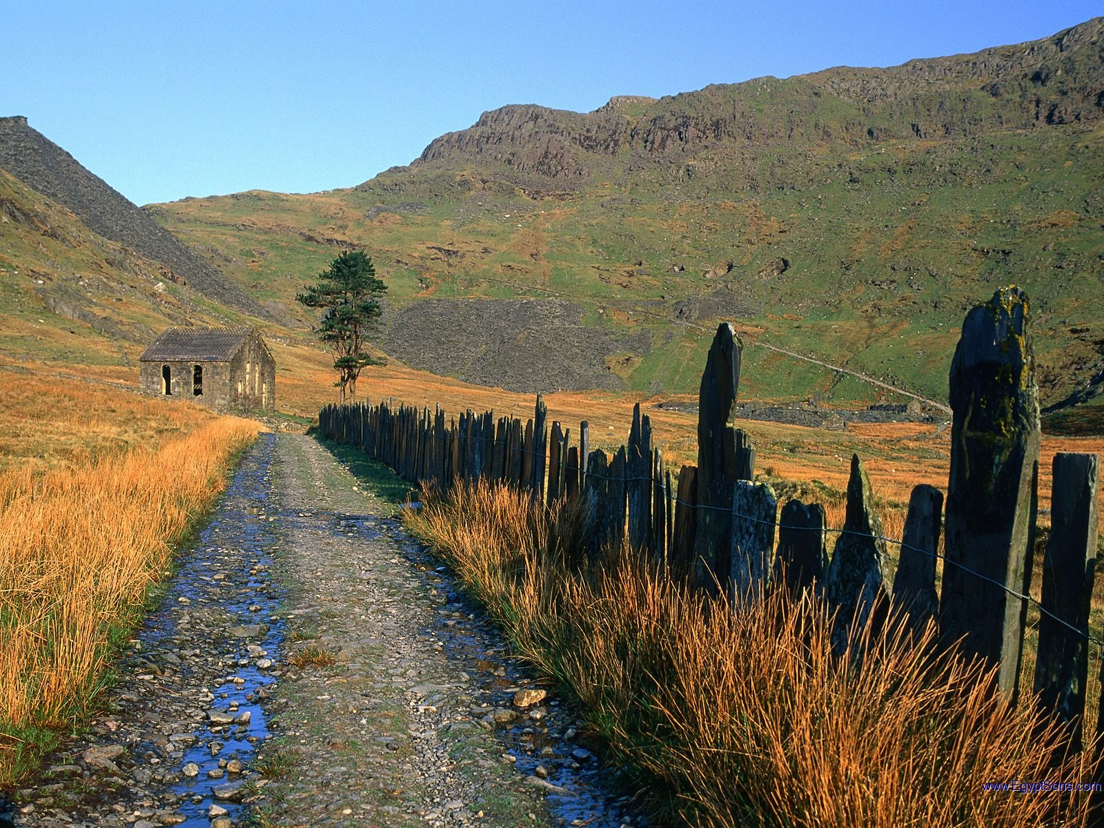 Slate Fence Leading to the Chapel, Snowdonia National Park, Wales